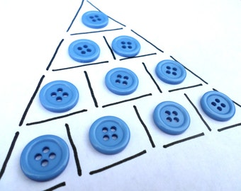 10 Blue 4 Hole Vintage Buttons