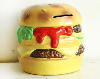 nos Vintage Hamburger Papier-mache Bank - Justen - New Old Stock - Original Box - cheeseburger bank - double cheeseburger piggy bank