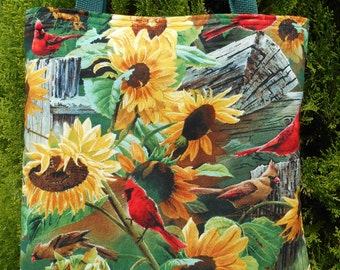 Sunflower Cardinal Tote Bag Fall Autumn Country Handmade Purse Limited