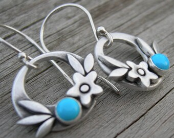 Summer Happiness Turquoise Sterling Silver Earrings PMC Artisan Jewelry
