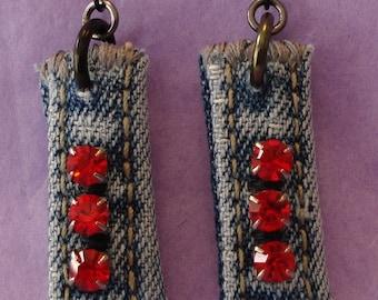 Denim Rhinestone earrings - red stones