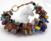 Mixed glass bead bracelet, Cha Cha Bracelet, big bold bracelet, chunky bracelet, copper cluster bracelet, beaded staement bracelet