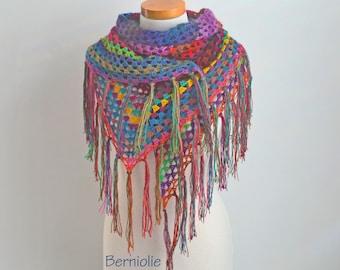 Bohemian crochet shawl with fringe, N362