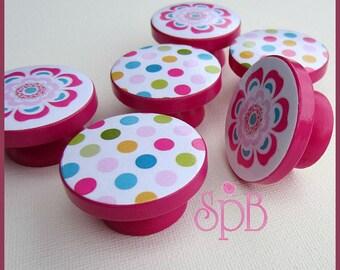 Kids Dresser Knobs - Drawer Knobs - Flower - Polka Dot - Drawer Pulls - Dresser Knobs with Metal Insert - Drawer Pulls