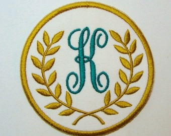 Gold Leaf Monogram Crest -Embroidered Applique DIY Patch-100397