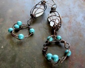 Earth, Wind and Sea - Rustic Copper Caged Beach Glass and Turquoise Earrings