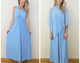 70s Light Blue Cut Out Halter Maxi Dress with Sheer Cape, Size XS to Small