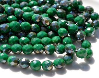 Kelly Green and Hematite Finish 8mm Faceted FIre Polish Round Czech GLass Beads   256