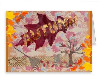 AUTUMN Greetings Handmade NOTE Card FALL Lughnasadh