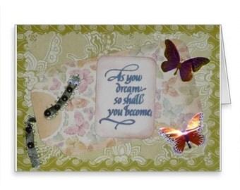 CATERPILLAR Dreams Handmade NOTE CARD Inspirational