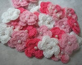 Crochet Double Layered Flowers Bulk Set  Pretty Pink Shades  set of 25