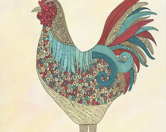 King of the Coop Art Print, Rooster, Farmyard, Wall Art