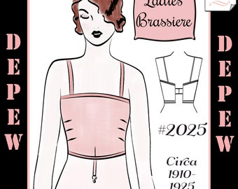 Vintage Sewing Pattern Ladies 1910's - 1920's Style Brassiere Multisize Depew #2025 -INSTANT DOWNLOAD-