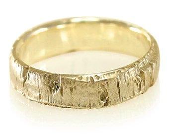 Aspen Bark Yellow Gold Mens Wedding Band in 10k Gold, 14k Gold, 18k Gold, or Palladium, Tree Bark Wedding Band, Tree Bark Ring