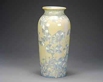 Ceramic Vase - Tan, Light Blue - Crystalline Glaze on High-Fired Porcelain - Hand Made Pottery - FREE SHIPPING - #E-1-4445
