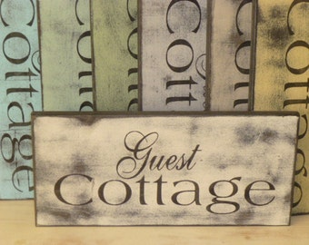 GUEST COTTAGE SIGN / shabby chic sign / cottage sign / guest sign / handpainted cottage sign /guest cottage / guest house sign / cottage