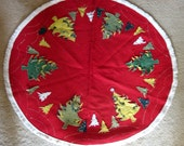 SELLER GOOFED SALE - Vintage Mid Century Red Felt Christmas Tree Skirt or Tablecloth, Handmade with Trees and Glitter and Fringe