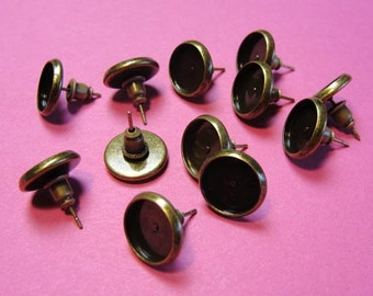 Antique Bronze Cabochon Bezel Earring Posts with Backs, Earring Settings,  Earstuds, 10mm inner tray, 12 PCS EWCP714