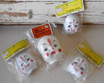 Vintage Vinyl Dimple Clown Faces, Craft Clown Faces, Doll Parts