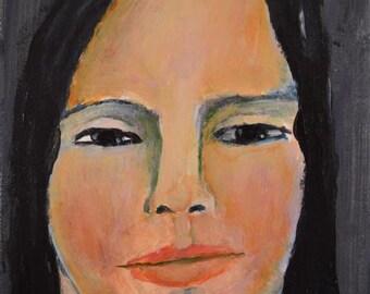 Acrylic Portrait Painting. Original Art. Wistful Woman. Emotional Face. 6x6 Canvas. Dark Home Wall Art Decor