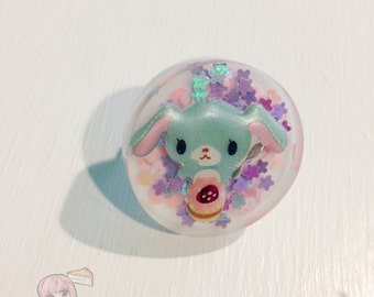 Big Round Pastel Blue Sugarbunnies Resin Ring