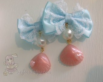 Sweet Lolita Mermaid Pink Seashell Lace Bow Earrings