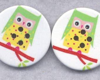 Owl Buttons Decorated Wooden Buttons  30mm (1 1/4 inch) Set of 2 /BT340B
