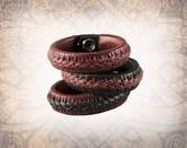 Burgundy - Braided Leather Cuff, Leather Cuff, Leather Wristband, Leather Bracelet, Brandy Leather Cuff, Leather Band, Braided Bracelet