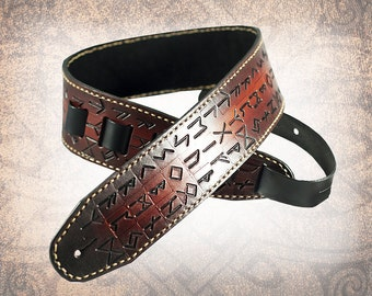 Leather Guitar Strap - The Runes