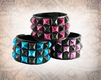 Studded Leather Cuff, Leather Cuff, Leather Wristband, Bracelet, Black Leather Cuff - Coloured Pyramid 3-Row - Custom to You (1 cuff only)