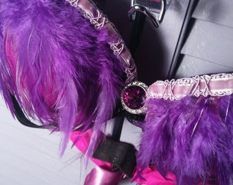 Purple Pink Feather Rhinestone Burlesque Bra SALE