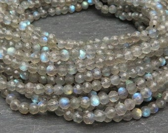 """Labradorite Faceted Round Beads 3.5mm - 13"""" Strand (CG7865)"""