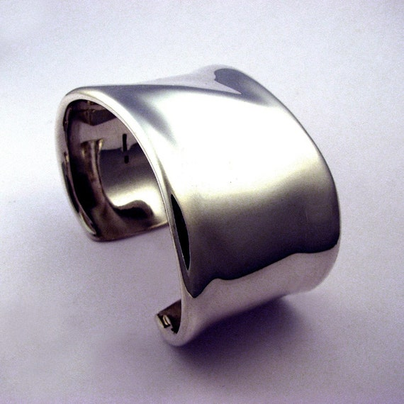 Silky Sterling Silver Cuff Bracelet, with Soft Ridge