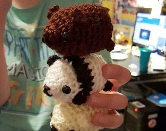 We Bare Bears Amigurumi Crochet Bear Set - Ice Bear / Panda / Grizzly - Mini Fat Bear Plushies - Made to Order