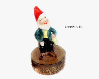 Vintage Ceramic Garden Gnome Figurine, Made in Ireland