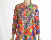 Vintage 60's Ultra Mod Psychedelic Pucci Print Maxi Dress