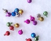 20 Shiny Tiny Colorful Glittery Bell Charms