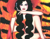 mexican pin up girl original folk art print, original artwork, contemporary mexican paintings tiger skin background, modern Mexican art