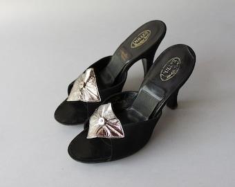 1950s Springolators / Vintage 50s Black Suede Mules / 50s Open Toe Femme Fatale Heels