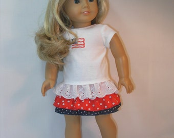 1755 - 18 Inch Doll Clothes Skirt and T-shirt for American Girl