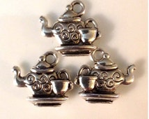 25 Cup and Tea Pot Charm 2 Sided - Antique Silver - SC76#GE*
