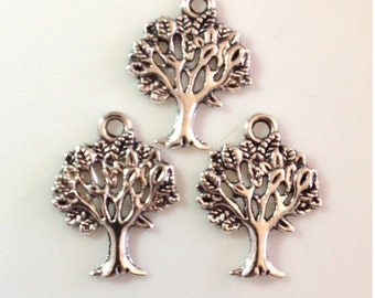 10 Tree of Life Charms - Antique Silver - SC26#GE