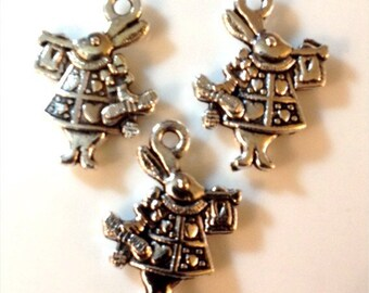 20 Alice in Wonderland White Rabbit 2 Sided charms - Antique Silver - SC49#GW