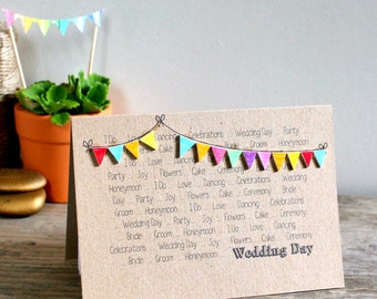 Handmade Wedding Card  //  Wedding Congratulations Card  //  Wedding Day Card  //  Wedding Day Bunting