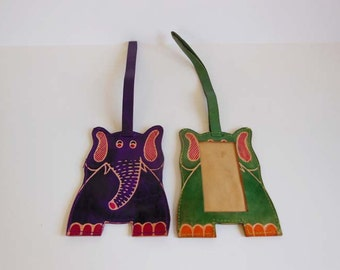 1970s luggage tags /  Pair Vintage 70's Elephant Luggage Tags