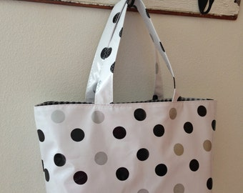 Beth's Large Black and Silver Polka Dot Oilcloth Market Tote Bag