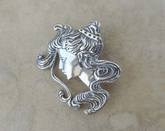 Vintage Art Nouveau Victorian Style Sterling Silver Lady Head Brooch Pin