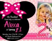 Minnie Mouse Birthday Invitations, Printable Digital File