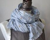 Gold stars on a powder blue cotton scarf, blue scarf, wrinkled cotton scarf, boho scarf, something blue, birthday gift shawl,