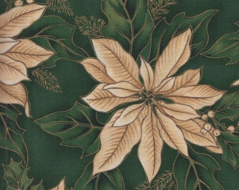Hoffman Christma Metallic 8840 Forest Gold Poinsettias by the yard
